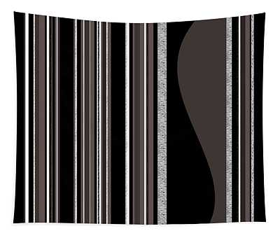Bass Note - Random Stripes - Black And White Tapestry