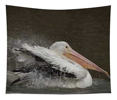 Bathing Pelican Tapestry