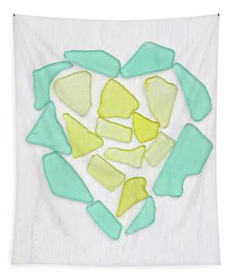 Beach Glass Heart Art Tapestry