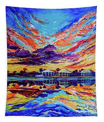 Beach House Reflections Fluid Acrylic Tapestry