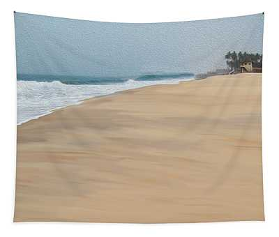 Beach Huts, Sand, Waves And Palm Trees Tapestry
