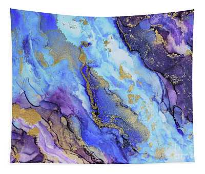 Beach Of Gold Blue Abstract  Tapestry