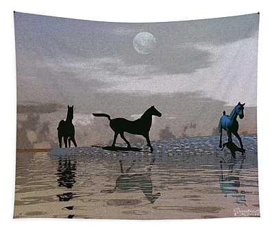 Beach Of Wild Horses Tapestry