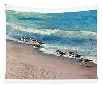 Beach Runners Tapestry