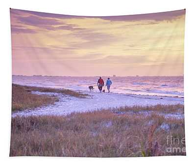 Sunrise Stroll On The Beach Tapestry