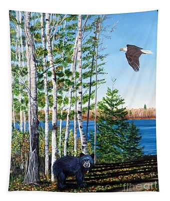 Little Bear And Eagle Wing Tapestry