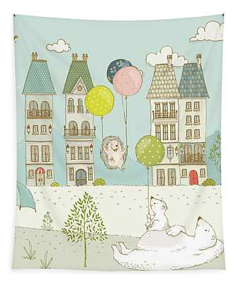 Tapestry featuring the painting Bears And Mice Outside The City Cute Whimsical Kids Art by Matthias Hauser
