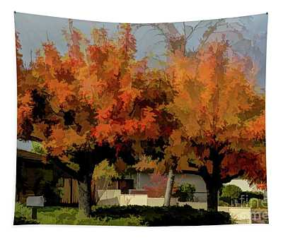 Beautiful Autumn Color Trees Art Photography  Tapestry