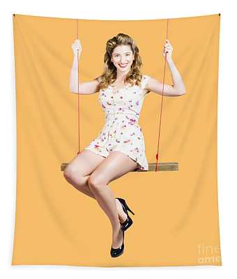 Beautiful Fifties Pin Up Girl Smiling On Swing Tapestry