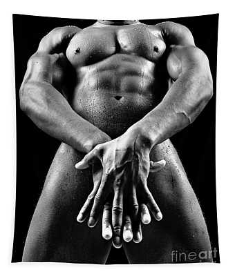 Beautiful Man Nude Or Naked With Great Sexy Body. Image In Black And White Tapestry