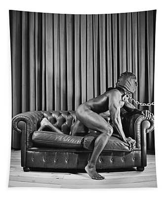 Beautiful Naked Man With Mask Posing On A Sofa Tapestry