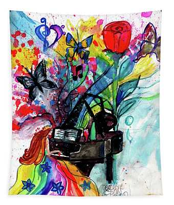 Beautiful Piano Player Color Splash With Butterflies Tapestry