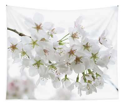 Beautiful White Cherry Blossoms Tapestry