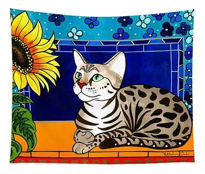Beauty In Bloom - Savannah Cat Painting Tapestry
