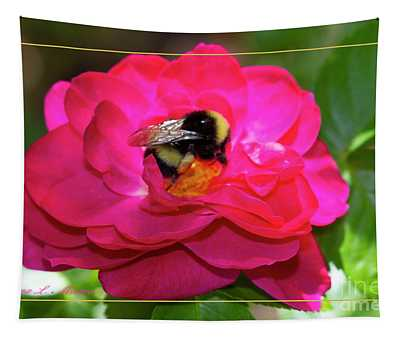 Bee On Rose With Border Tapestry