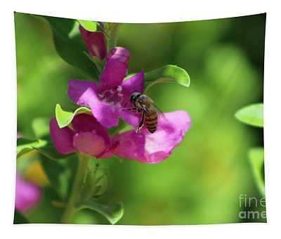 Bee On Royal Purple Texas Ranger Flower Tapestry