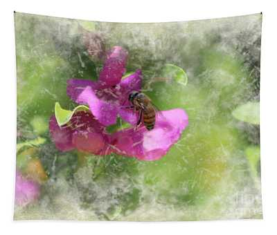 Bee On Texas Ranger Blossom Antiqued And Aged Tapestry