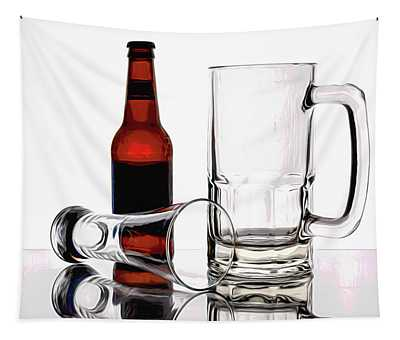 Beer Bottle And Glasses Tapestry