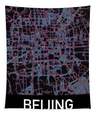 Beijing City Map Tapestry