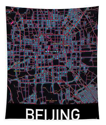 Beijing City Map Tapestry