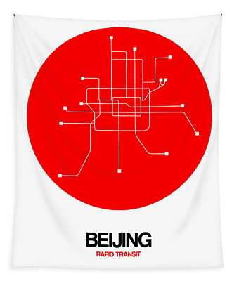 Beijing Red Subway Map Tapestry