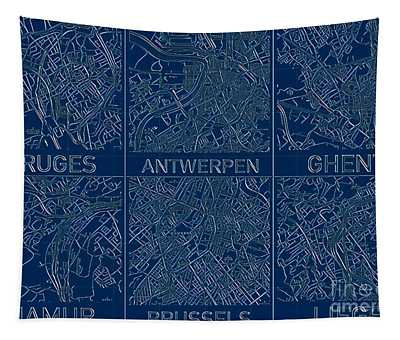 Tapestry featuring the digital art Belgium Blueprint Cities Map by Helge