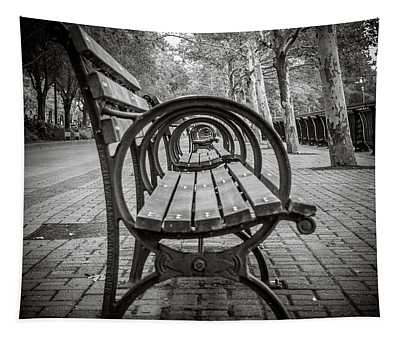 Tapestry featuring the photograph Bench Circles by Steve Stanger