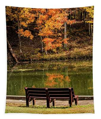 Bench In Early Fall Tapestry