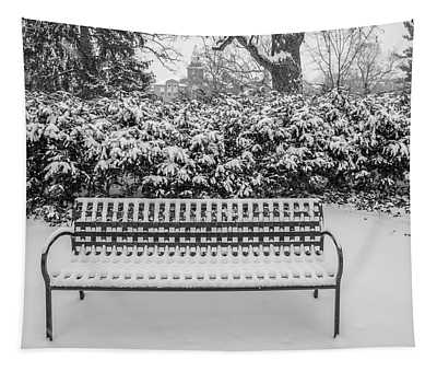 Bench In Winter  Tapestry
