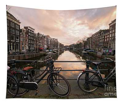 Bicycles And Canal Houses In Amsterdam At Sunset Tapestry