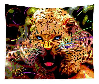 Big Cat Leopard Pop Cat Tapestry