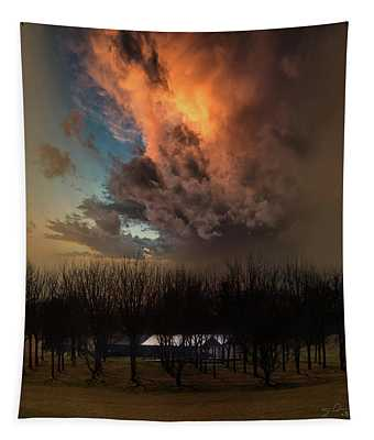 Big Sky Cranes Orchards Michigan Tapestry