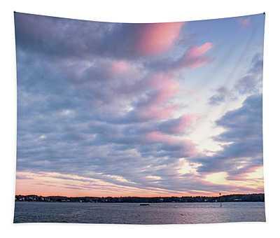 Big Sky Over Portsmouth Light. Tapestry
