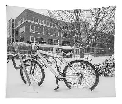Bike And Msu Library  Tapestry