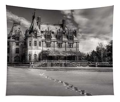 Biltmore House From The Tea Room In Snow In Black And White Tapestry