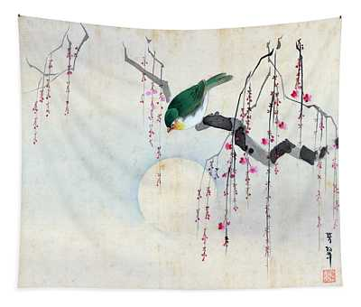 Bird And Moon Tapestry
