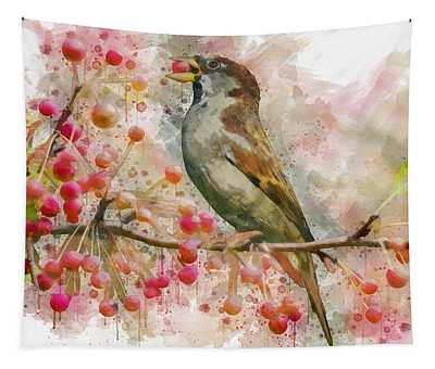Bird Eating Cherries From A Tree Watercolor Tapestry
