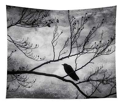 Bird On Autumn Branches Black And White Tapestry