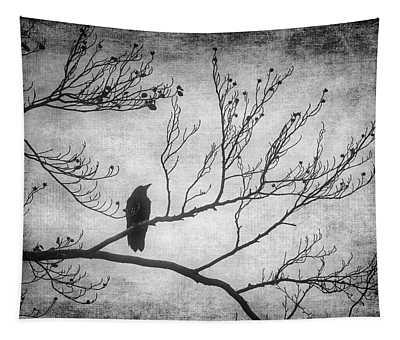 Bird Silhouette In Black And White Tapestry