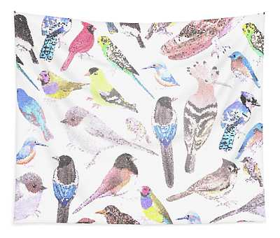 Birds Of America- Pets And Wild Birds Seamless Mosaic  Tapestry