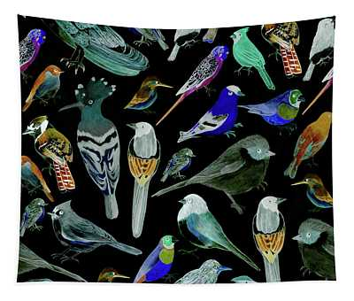 Birds Of America- Pets And Wild Birds Watercolor  Tapestry