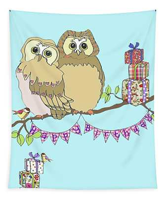 Birthday Owls Tapestry