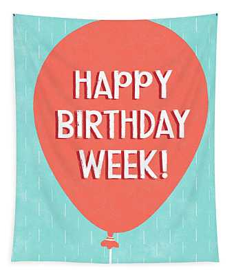 Birthday Week Red Balloon- Art By Linda Woods Tapestry