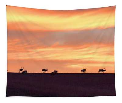 Bison Elk Panorama Tapestry