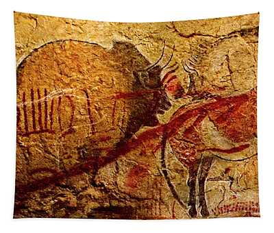 Bison Horse And Other Animals Closer - Narrow Version Tapestry