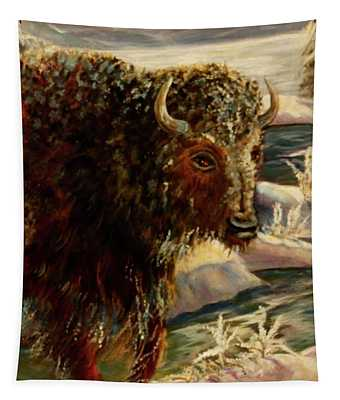 Bison In The Depths Of Winter In Yellowstone National Park Tapestry