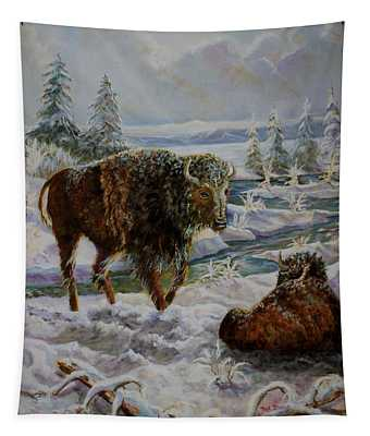 Bison In Yellowstone In The Winter Tapestry
