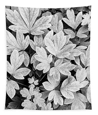 Black And White Abstract Leaves Tapestry