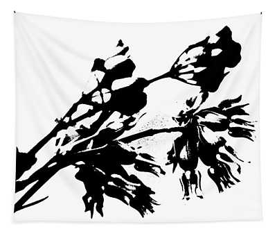 Black And White Abstract Of Desert Milkweed Tapestry