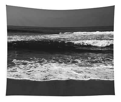 Black And White Beach 1- Art By Linda Woods Tapestry